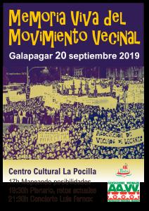 Programa de encuentro asociativo en Galapagar 20-9-2019 @ Centro Cultural La Pocilla